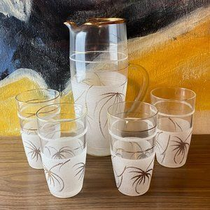 VINTAGE Frosted Glass Cocktail Pitcher and Glasses